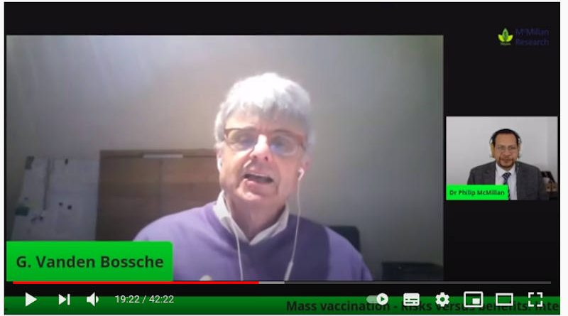 Screengrab from the video interview of Dr. Geert Vanden Bossche