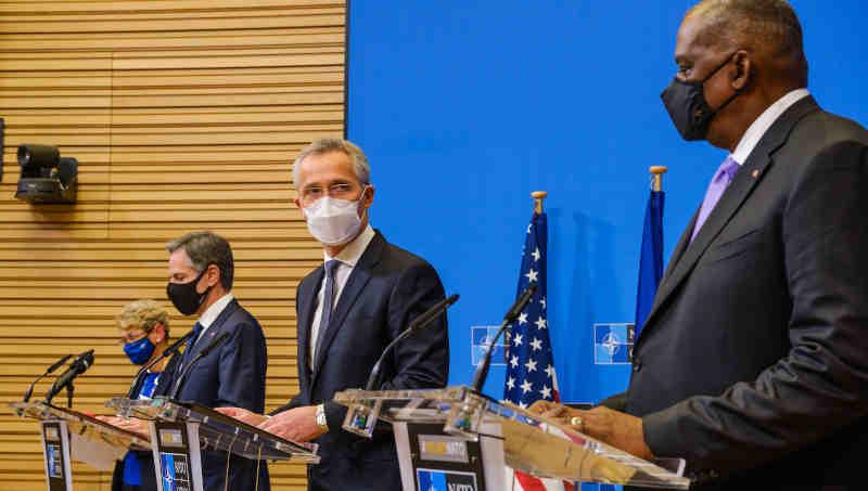 Joint press conference by NATO Secretary General Jens Stoltenberg, US Secretary of State Antony J. Blinken and US Secretary of Defense Lloyd J. Austin III. Photo: NATO