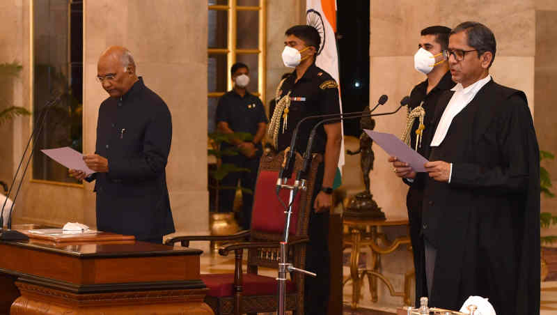 Justice Nuthalapati Venkata Ramana sworn in as the Chief Justice of the Supreme Court of India by the President of India Ram Nath Kovind on April 24, 2021 at the Rashtrapati Bhavan. Photo: Rashtrapati Bhavan (file photo)