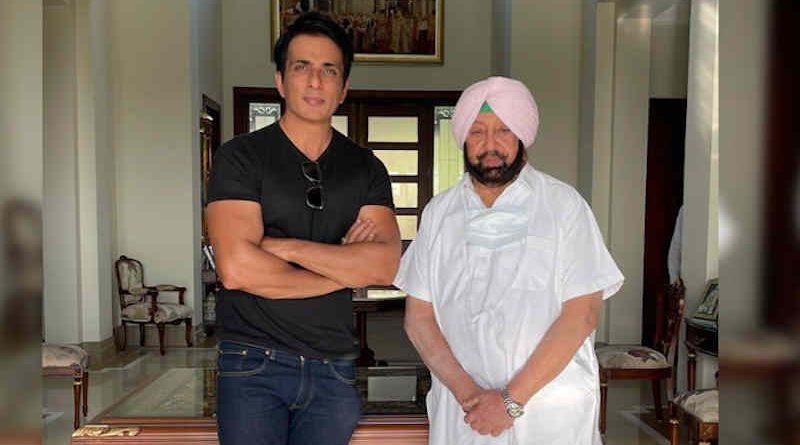 Bollywood actor Sonu Sood with Punjab chief minister Amarinder Singh. Photo: Twitter / Amarinder Singh