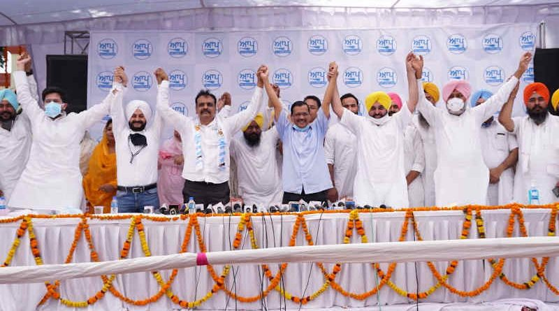 Aam Aadmi Party (AAP) chief Arvind Kejriwal with other local politicians in Punjab on June 21, 2021. Photo: AAP