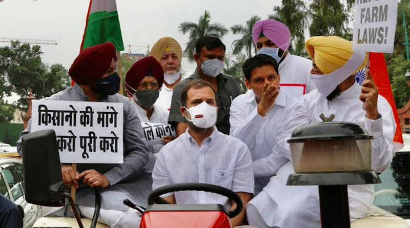 Congress leader Rahul Gandhi driving a tractor in New Delhi on July 26, 2021 to highlight farmers' demands. Photo: Congress