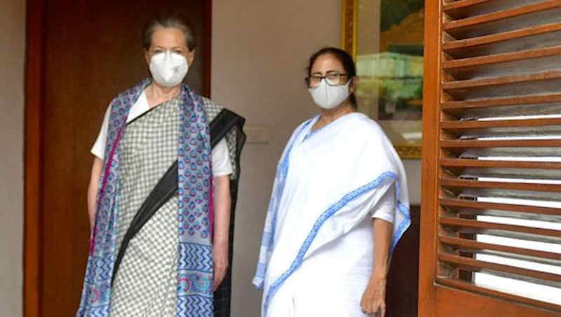 Congress president Sonia Gandhi with West Bengal chief minister (CM) and Chairperson of All India Trinamool Congress (AITC) Mamata Banerjee in New Delhi on July 28, 2021. Photo: AITC