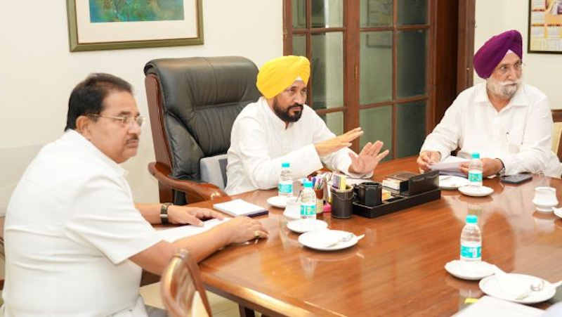 Punjab chief minister (CM) Charanjit Singh Channi holding a meeting on September 20, 2021. Photo: Punjab Government