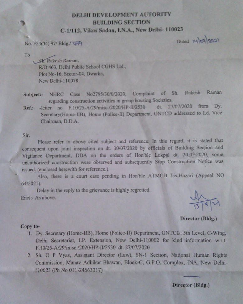 DDA letter dated 14.09.2021 informing me (Rakesh Raman) that unauthorized FAR construction at DPS CGHS has been stopped under directions from NHRC and Lokpal
