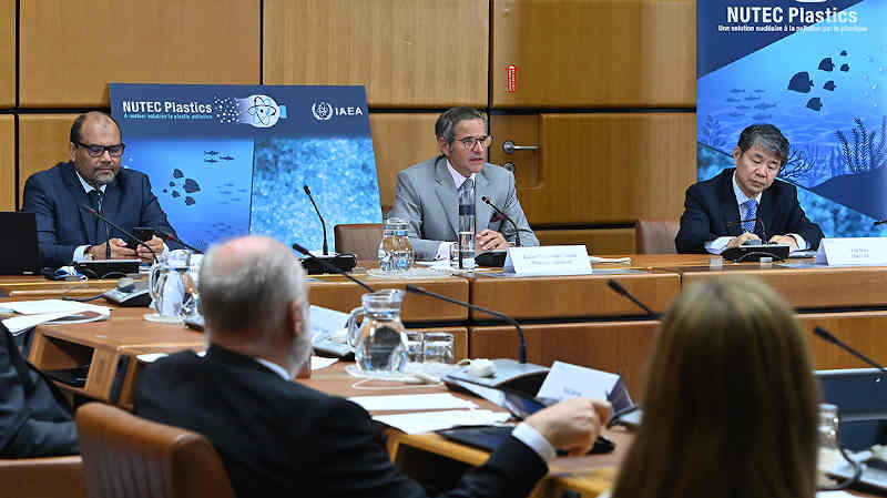 Over 400 participants from 46 countries in Africa attended the virtual NUTEC Plastics roundtable, held on 2 September 2021. (Photo: D.Calma/IAEA)