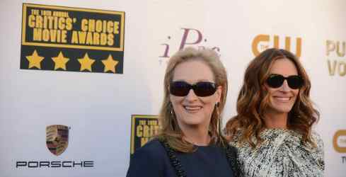 Meryl Streep and Julia Roberts attend the 19th annual Critics' Choice Movie Awards presented by Porsche at The Barker Hangar in Santa Monica on Thursday, Jan. 16, 2014.