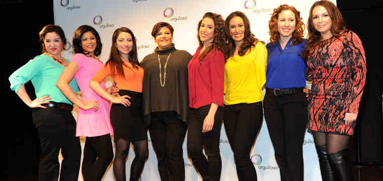 "Writer/director Linda Nieves-Powell, fourth from left, and radio personality Angie Martinez, right, join the cast after the debut of the P&G Orgullosa production of ""Nueva Latina Monologues,"" written by Nieves-Powell, at the Helen Mills Theater, Wednesday, Feb. 26, 2014 in New York. (Photo by Diane Bondareff/Invision for P&G Orgullosa/AP Images)"