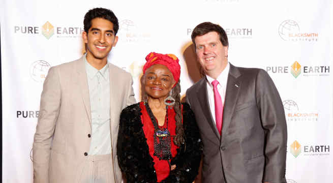Dev Patel with artist Faith Ringgold and Pure Earth / Blacksmith Institute President Richard Fuller at the inaugural Pure Earth benefit gala held in NYC.