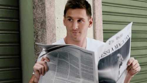 The creative features the #FutbolNow Pepsi superstar squad, including Leo Messi, pictured here in the creative.