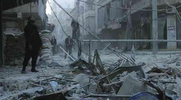 Barrel bomb attack in Aleppo, Syria. Photo: Wikipedia