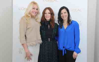 L'Oreal Paris ambassador Julianne Moore and L'Oreal Paris Women of Worth honorees Kaitlin Roig-DeBellis and Phyllis Sudman launch the 10th Anniversary of Women of Worth