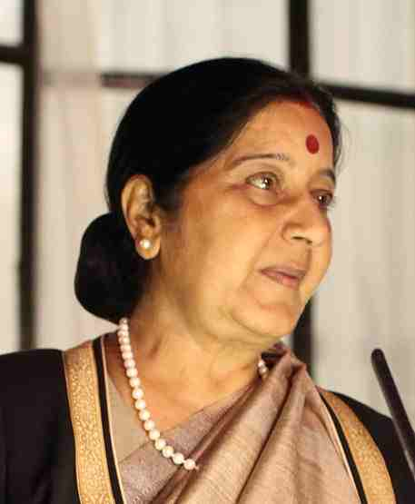 Sushma Swaraj. Photo courtesy: Wikipedia