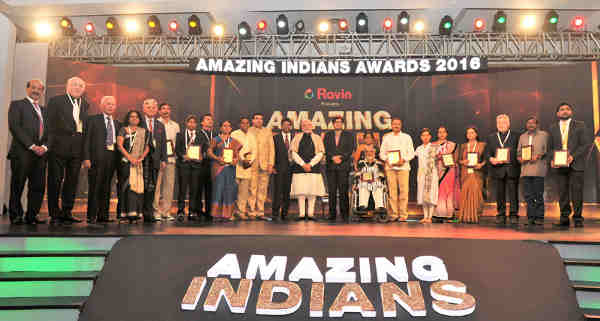 "Narendra Modi with the winners of the ""Times Now"" Amazing Indians Awards – 2016, at a function, in New Delhi on January 14, 2016"
