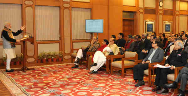 Narendra Modi interacting with the Secretaries to the Government of India, in New Delhi on December 31, 2015.