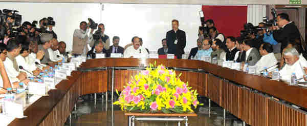M. Venkaiah Naidu holding the budget session eve meeting with the leaders of parties in Lok Sabha and Rajya Sabha, in New Delhi on February 22, 2016