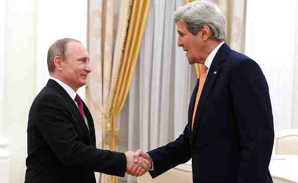 Vladimir Putin with John Kerry