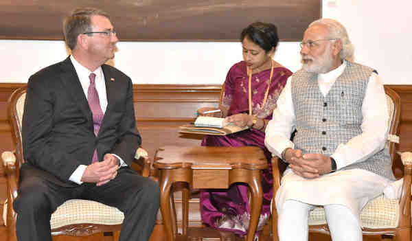 US Defence Secretary, Ashton B. Carter calls on the Prime Minister of India, Narendra Modi, in New Delhi on April 12, 2016