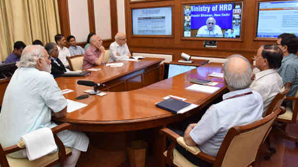 Narendra Modi chairing twelfth interaction through PRAGATI - the ICT-based, multi-modal platform for Pro-Active Governance and Timely Implementation, in New Delhi on May 25, 2016. Photo courtesy: Press Information Bureau