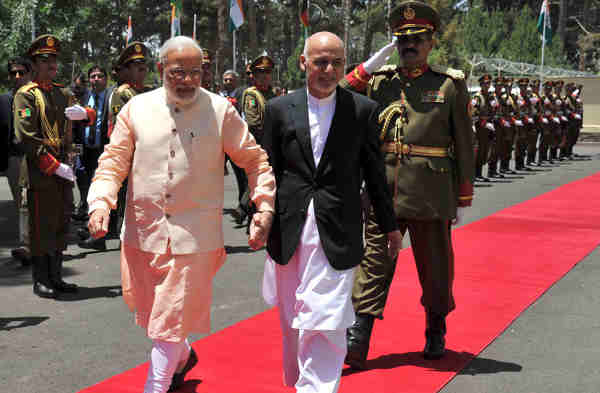 Narendra Modi with the President of the Islamic Republic of Afghanistan, Mohammad Ashraf Ghani, in Herat, Afghanistan on June 04, 2016