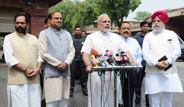 Narendra Modi interacting with the media at the start of Monsoon Session of Parliament, in New Delhi on July 18, 2016