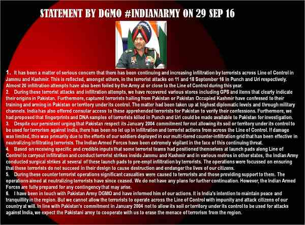 Statement by DGMO of India