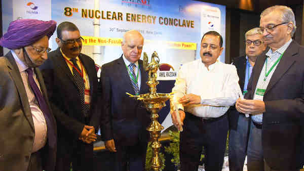 Dr. Jitendra Singh lighting the lamp to inaugurate the 8th Nuclear Energy Conclave, in New Delhi on September 30, 2016