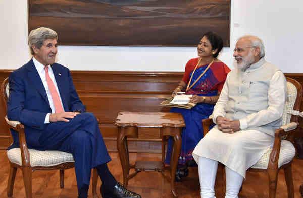 John Kerry calls on Narendra Modi in New Delhi on August 31, 2016