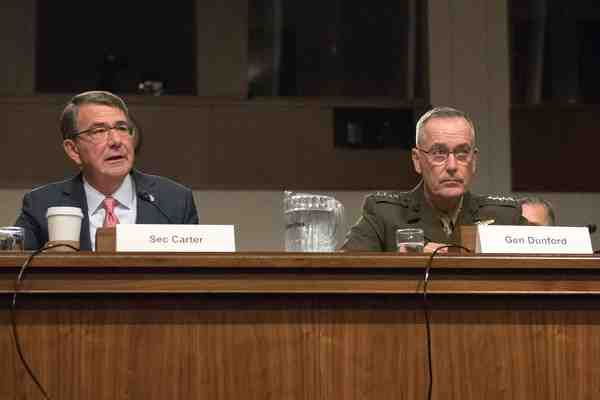 Defense Secretary Ash Carter and Marine Corps Gen. Joe Dunford, chairman of the Joint Chiefs of Staff, testify before the Senate Armed Services Committee in Washington, D.C., Sept. 22, 2016. DoD photo by Navy Petty Officer 2nd Class Dominique A. Pineiro