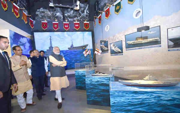 Narendra Modi visiting the museum at Shaurya Smarak, in Bhopal, Madhya Pradesh on October 14, 2016
