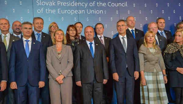 NATO Secretary General Jens Stoltenberg with EU Defence Ministers