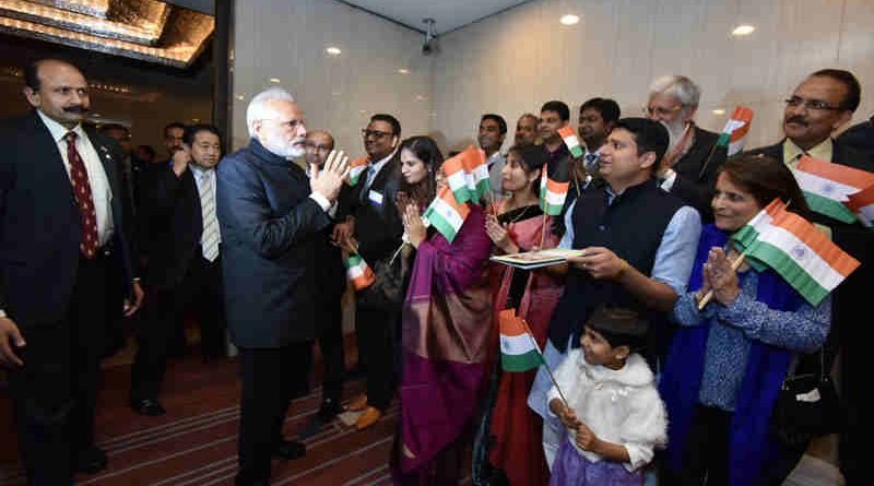 Narendra Modi with Indian Community