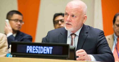 General Assembly President Peter Thomson briefs delegates on the strategy of his office to support the implementation of the Sustainable Development Goals. UN Photo / Manuel Elias