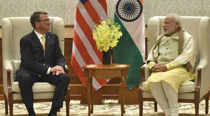 Ashton Carter calling on Narendra Modi in New Delhi on December 08, 2016