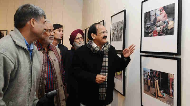 M. Venkaiah Naidu visiting after inaugurating the 4th biannual photo exhibition of all India Working News Cameramen's association, in New Delhi on December 08, 2016