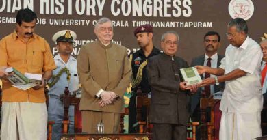 The President, Shri Pranab Mukherjee at the inauguration of the 77th Session of Indian History Congress, at Thiruvananthapuram on December 29, 2016. The Governor of Kerala and former Chief Justice of India, Mr. Justice P. Sathasivam and the Chief Minister of Kerala, Shri Pinarayi Vijayan are also seen.