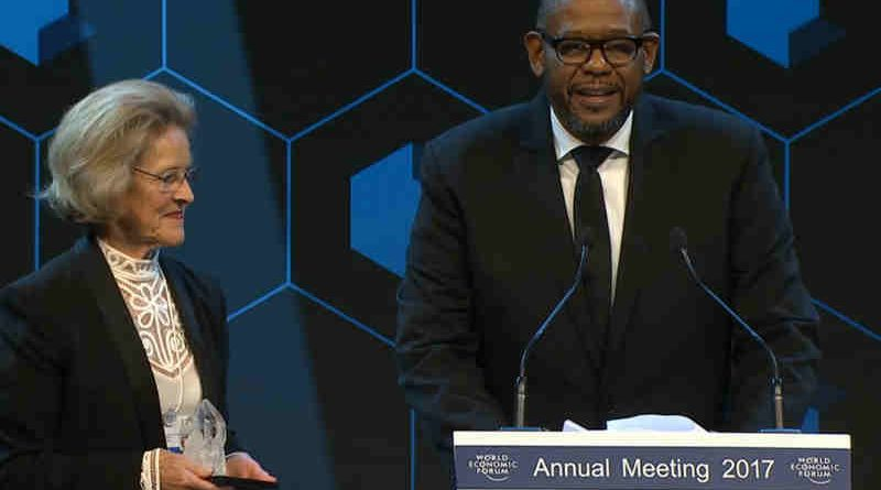 UN agency envoy Forest Whitaker honoured at the 47th World Economic Forum Annual Meeting in Davos, Switzerland (screenshot)