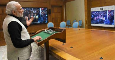 Narendra Modi using video conferencing in New Delhi on January 12, 2017