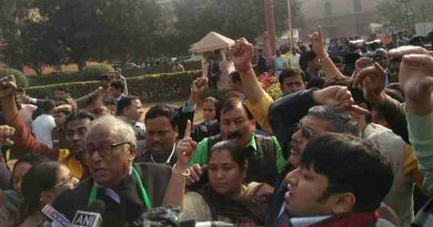 Trinamool MPs protesting outside PM Office in Delhi on January 5, 2017