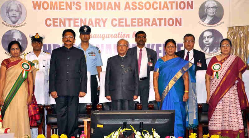 The President, Shri Pranab Mukherjee at the Centenary Celebrations of Women's Indian Association, in Chennai on March 03, 2017. The Governor of Tamil Nadu, Shri C. Vidyasagar, the Social Welfare Minister of Tamil Nadu, Shri V. Saroja and other dignitaries are also seen.