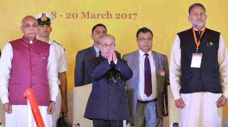 """President of India, Pranab Mukherjee, inaugurated an international event """"Universities of the Future: Knowledge, Innovation & Responsibility"""" at Sonipat on March 18, 2017."""