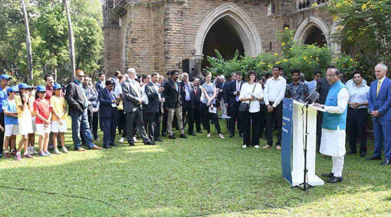 Vijay Goel addressing at the launch of the India-Australia Sports Partnership, in Mumbai on April 12, 2017