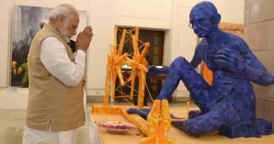 "Narendra Modi visiting the exhibition titled ""Swachchhagrah – Bapu Ko Karyanjali - Ek Abhiyan, Ek Pradarshani"", to mark the 100 years of Mahatma Gandhi's first experiment of Satyagraha in Champaran, organised by the National Archives of India, in New Delhi on April 10, 2017"
