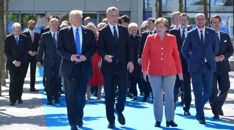 Donald Trump (President, United States), NATO Secretary General Jens Stoltenberg and Angela Merkel (Federal Chancellor, Germany). Photo: NATO (file photo)