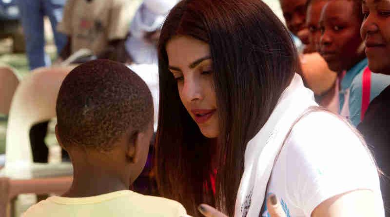 On May 4 2017, UNICEF Goodwill Ambassador Priyanka Chopra meets a young survivor of sexual violence at the Family Support Clinic in Chitungwiza town north of Harare, Zimbabwe.