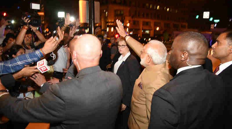 Narendra Modi meeting the people of Indian community, on his arrival at Joint Base Andrews, Washington DC, USA on June 24, 2017