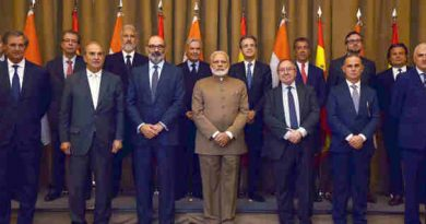 Narendra Modi in a group photograph with the Spanish CEOs, in Madrid, Spain on May 31, 2017