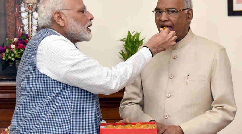 The Prime Minister, Shri Narendra Modi congratulates the President-elect, Shri Ram Nath Kovind, in New Delhi on July 20, 2017. (file photo). Courtesy: PIB