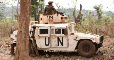 Peacekeepers with the United Nations Multidimensional Integrated Stabilization Mission in the Central African Republic (MINUSCA) on patrol in Bambari. Photo: MINUSCA (file photo)