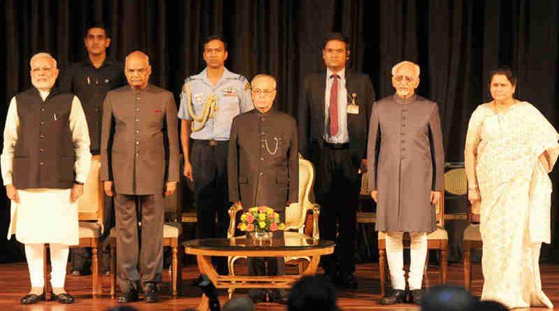 The President, Shri Pranab Mukherjee, the Vice President, Shri M. Hamid Ansari, the President-elect, Shri Ram Nath Kovind and the Prime Minister, Shri Narendra Modi at the release of Volume 4 of President Pranab Mukherjee's selected speeches in Rashtrapati Bhavan, in New Delhi on July 24, 2017.